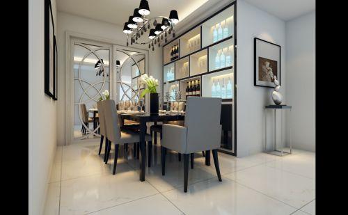 灰白搭配的豪华餐厅装潢