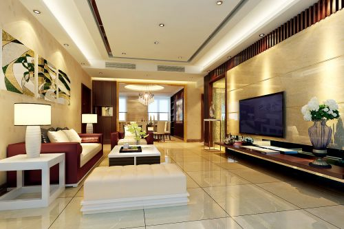 黄色豪华宽敞的客厅装修