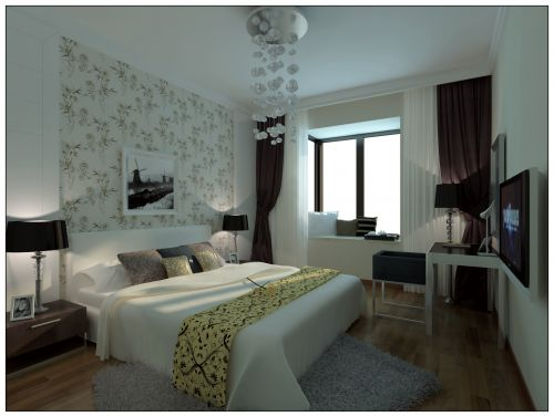 温馨白色简约的卧室效果图