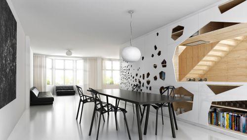 黑白空旷的客厅装潢