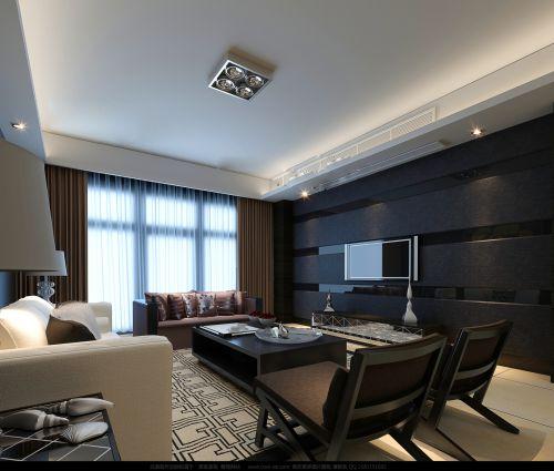 黑色的简约客厅效果图