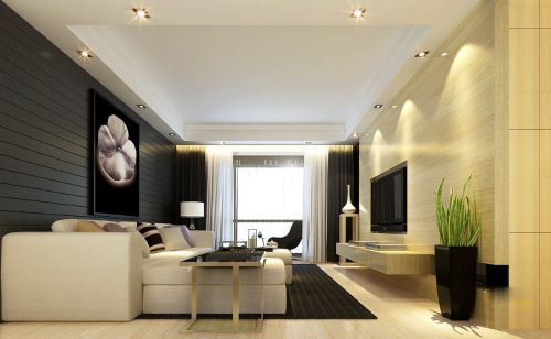 时尚的黑色墙面客厅装潢