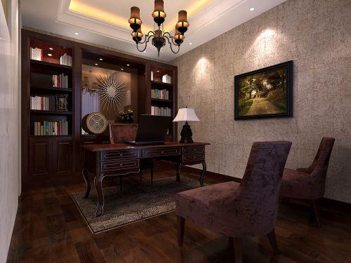 咖啡色简欧书房设计