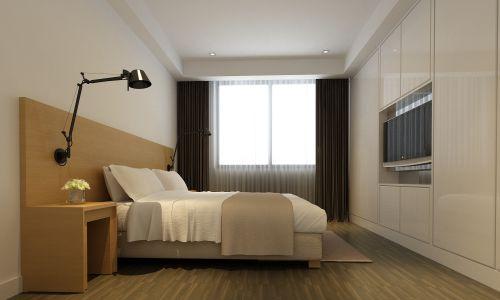 米色的简约卧室效果图