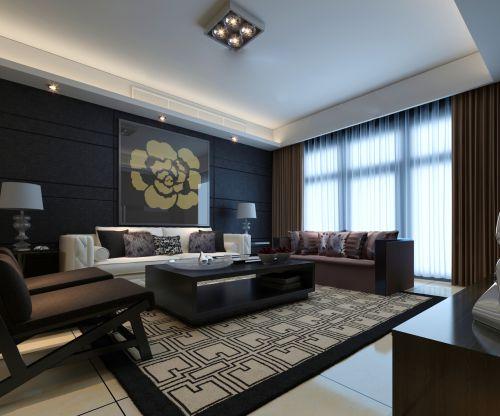 黑色霸气的客厅效果图