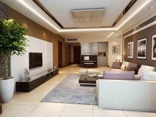 现代客厅灯具装修效果图