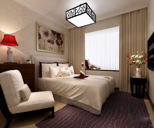 紫色地毯的温馨卧室装潢