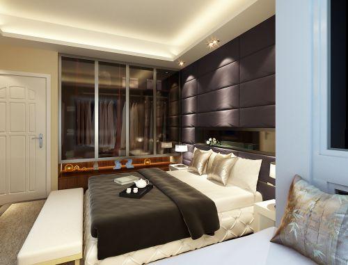 黑色简约的卧室效果图