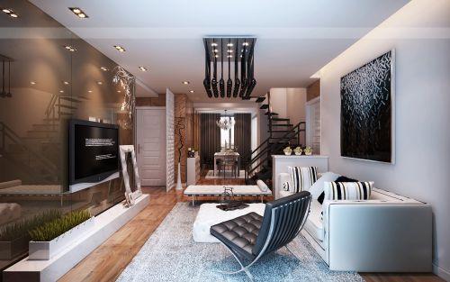 小别墅黑色的客厅设计