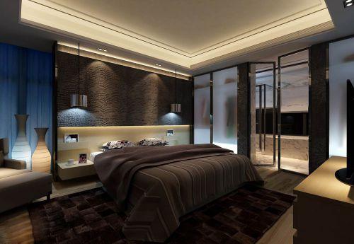现代咖啡色卧室效果图