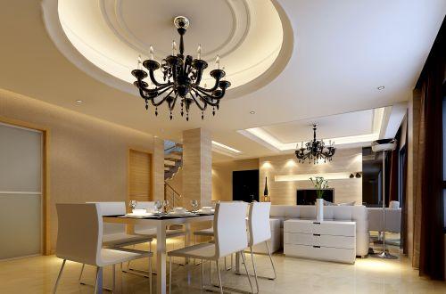 现代简约餐厅吊顶效果图
