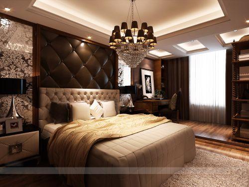 豪华吊灯美式卧室设计