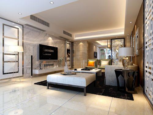 简欧与现代风格混搭的客厅效果图