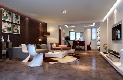 灰色和锈红色搭配的客厅装修