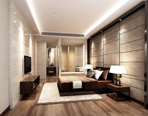 咖啡色的现代风格卧室设计