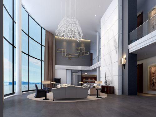 宽敞的海景房客厅设计