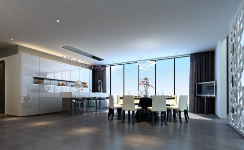 灰色宽敞的餐厅装修