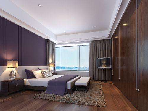 紫色背景墙的卧室装修