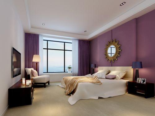 紫色的异域风情卧室效果图