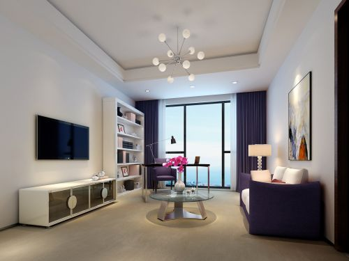 紫色和白色搭配的简约客厅设计