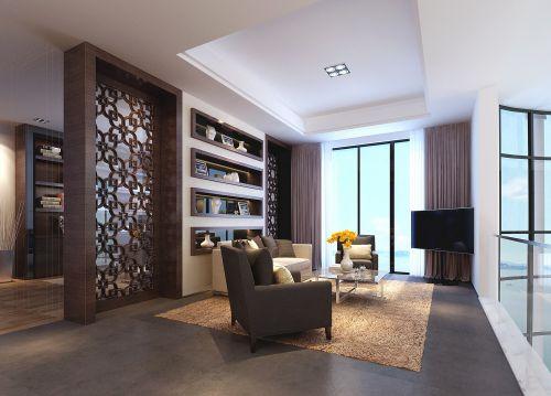 咖啡色新中式客厅装潢