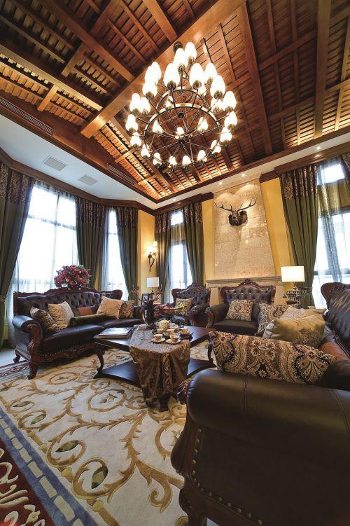 美式装修风格客厅吊顶效果图