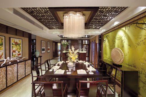 咖啡色中式古典餐厅装潢
