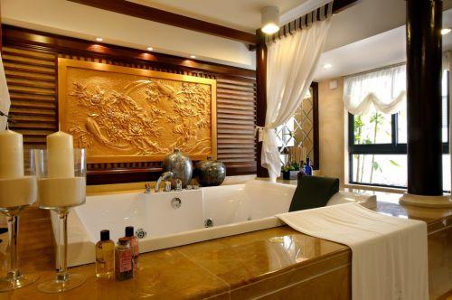 中式豪华的卫生间浴缸装修