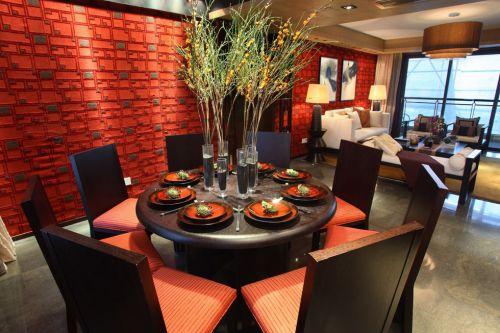 美式红色餐台装潢