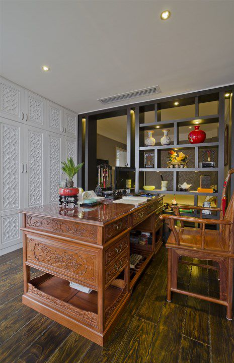 新古典木质家具的书房装潢