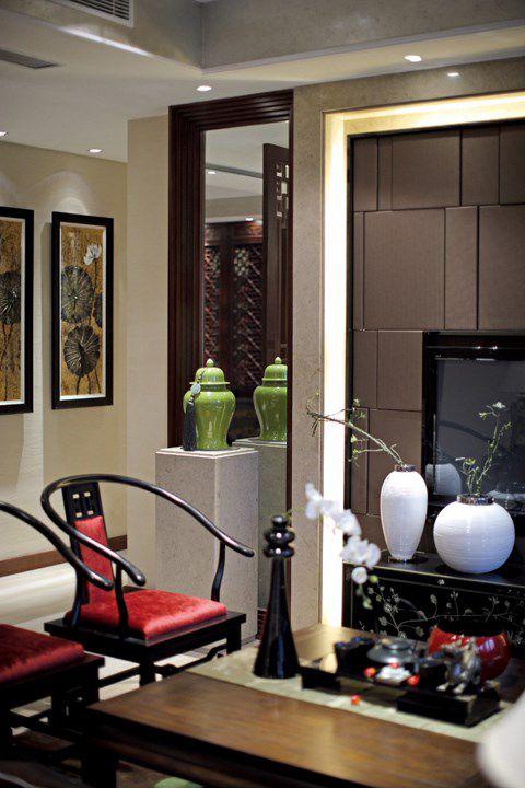 咖啡色新中式客厅设计
