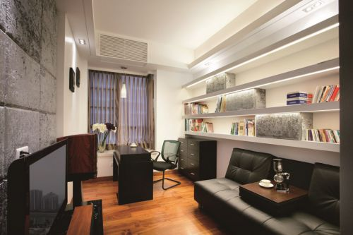 简约风格客厅书房一体化设计