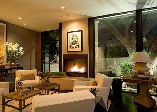 美式田园风格有壁炉的客厅设计