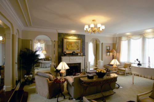 美式客厅壁炉装修效果图