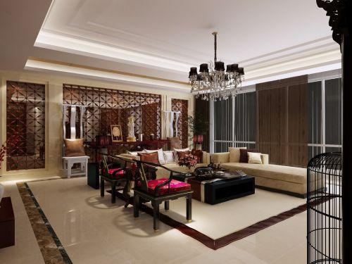 咖啡色的简约中式客厅效果图