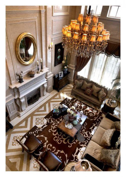 美式别墅客厅效果图俯视图