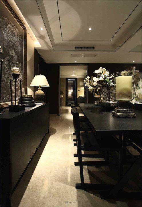 田园风格黑色餐桌装潢