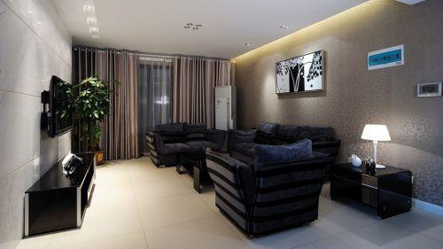 黑色简约客厅装修小户型