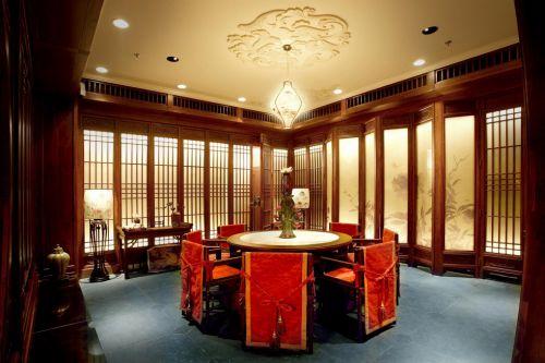 古典的红色婚房餐厅装修