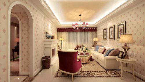 简欧粉色客厅装修设计