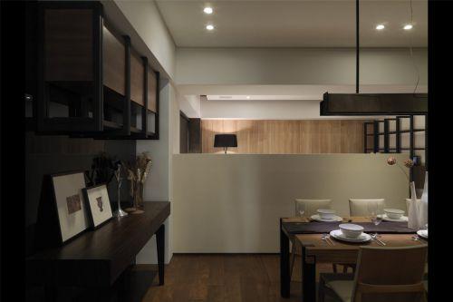 咖啡色橱柜的餐厅装潢