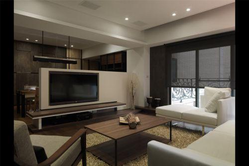 咖啡色白色搭配的客厅装修
