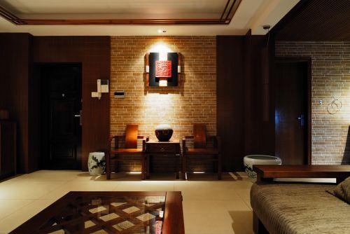 咖啡色的中式客厅设计