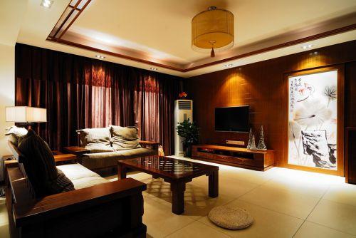 简约中式黄色客厅设计