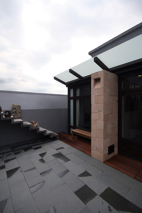 现代灰色的简约庭院设计