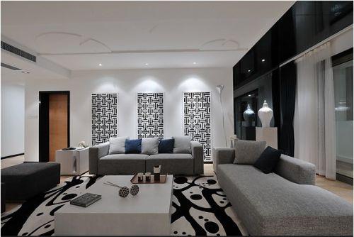 黑白搭配时尚客厅装潢
