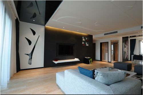 灰色黑色搭配的简约客厅设计