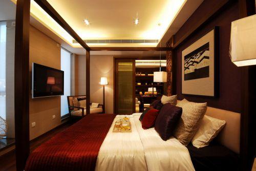 红色豪华的卧室装潢