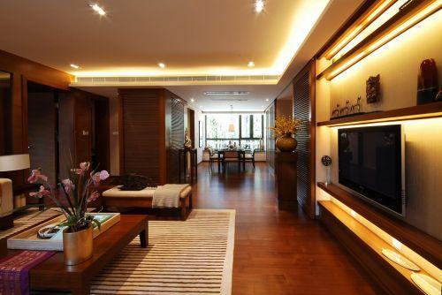 黄色灯光的温馨客厅装潢