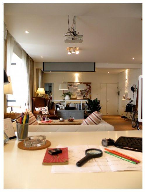 文艺范的客厅书房一体设计